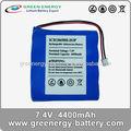 Bateriasrecarregáveis extra e medidor de água da bateria packs 2s2p 7.4v 4400 mah