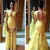 2014 vestido de renda amarelo Sexy Long Prom Party Gowns Cap Sleeve Lace evening Dress Yellow