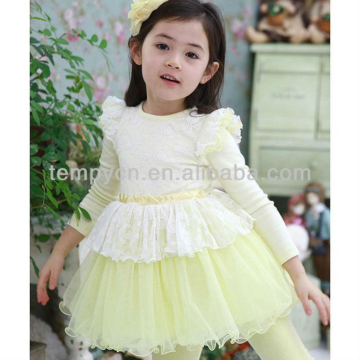 Saia de renda moda roupas infantis roupas para crianças puff luva de algodão de manga comprida crianças vestido da menina de flor( tya- kd1313- 2)