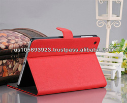 Lichee Pattern PU leather smart cover case for Mini Ipad