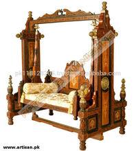 Wooden Swing jhoola Fully Carved Mughal Design