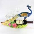Pavão resina artesanato pavões vermelho garrafa de vinho titular com prateleira de vinho de vidro para decoração de casa em forma de pavão wine rack( xh002)
