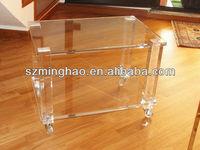 hot sale high quality acrylic coffee table/acrylic tea table/acrylic side table with casters