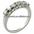 Sólido de acero inoxidable de la venda de boda anillo de eternidad 2.5 mm claro piedras de la CZ