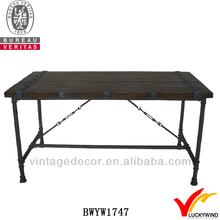 Large crate metal legs vintage exotic wood dining tables