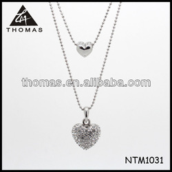 Top design jewelry 2014 wholesale bulk jewelry chain design large silver heart necklace NTM1031