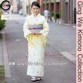 Fu-ka japonés de moda de la boda vestido de kimono tiro de fotos de poliéster señora de la luz de color beige forrado lavable traje de kimono