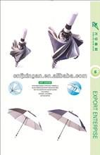 Double Layer Safty Full Fiberglass Manual Open Golf Umbrella