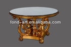 Antique gold dinning table, 6 person round dinning table,glass top dinning table