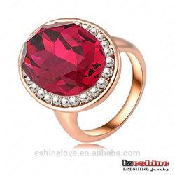 Big Rainstone Ring Fashion Jewelry 18K Rose Gold Plated SWA Elements Austrian Crystal Women Rings Ri-HQ0097