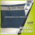 100% Modacrylic retardador de chama azul cobertor companhia aérea witn logotipo tecido