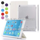 Ultra thin flip leather foldable stand case for ipad air 2 with crystal transparent back clear cover