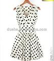 cuello v de las señoras sin mangas de color blanco y el dot ploka vestido casual s13140101 imágenes