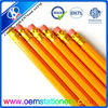 7.5'' yellow hb pencil with eraser top /hb pencil with OEM logo /wooden hb pencil for kids