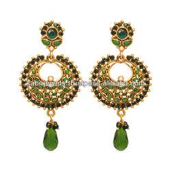 Diamond earrings/dangle earring/temple jewellery/polki jewellery/polki earrings