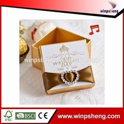 2014 new desing custom handmade small luxury romantic music paper wedding gift box