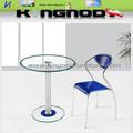 simples e barato pequenas rodada inoxidável vidro mesa de jantar