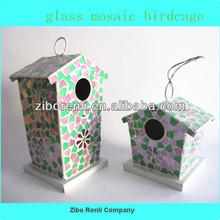 Personalized Hanging Art Decor Novelty Mosaic Birdcage Flying Bird Feeder
