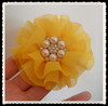 Small Order Circle Chiffon Flower With Pearls and Rhinestone Embellishments Hair Ornament