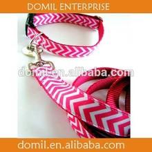 wholesale pink chevron dog collar and chevron dog lead leash DOM-CHE101157