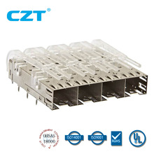 SFP+ Cage 1x4 Press Fit w light pipe CZT logo