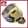 venta al por mayor de moda la última joyería de acero inoxidable 18k de fundición de oro anillo de calavera para los hombres
