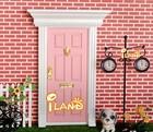 Doll house fairy door Wood Painted Exterior Door W/ Hardware pink OA011D-4