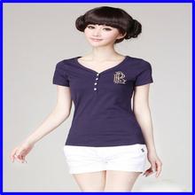 Ladies summer popular v-neck cloting sexy women close-fitting custom t shirt