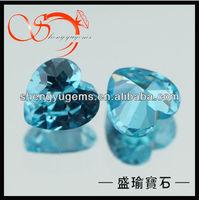 heart aquamarine zircon gemstone carving CZHT-5X5-18