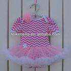 2014Hot sale hot pink chevron baby romper dress, tutu dress