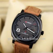 Fashion Leather Strap Clocks Japan Movement curren watch