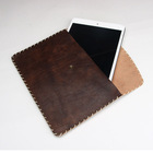 100% Italian vegetable tanned horse leather holder white handmade stitching case vintage style pouch for tablet