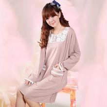 1116# Female 100% Cotton Polka Dot Lace Lingeries Pajamas