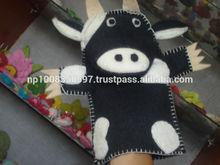 Felt cow hand puppet