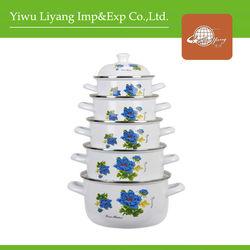 5pcs Top Quality Enamel Flower Decal Cooking Pots Cast Iron Enamel Ceramic Casseroles 673D Enamel Porcelain Cookware