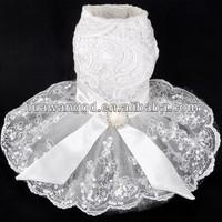 2015 hot-selling pet dressing Elegant lace wedding dress for dog, pet lace wedding dress
