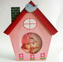 Pink house cartoon frame, kids cartoon frame, wooden baby photo frame, picture frame