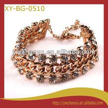 fashion golden iron braid with two diamond layers elegant charm chain bracelet