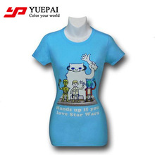 fashion fancy design v-neck fitted digital printing women t-shirts 2014