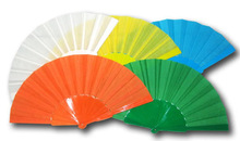 plain color fabric folding fan with plastic handle for promotion