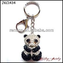 High Quality Eco-friendly zinc alloy animal Lovely Panda Crystal Keychain