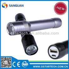Cree Q5 LED Flashlight USB Phone Charge Flash Torch light