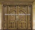 De lujo y Exterior moderna de madera de goma doble talla de puertas