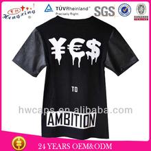 Plain wholesale leather sleeves printed t-shirt/ cotton t-shirt/ custom t-shirt