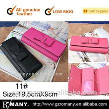 genuine cow-hide saffiano leather bow tree fold/tri-fold/folding many card slots korean style/ women/lady fashion wallets/purse