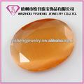 Sintético de color ámbar oval corte brillante del ojo de gato de piedra cabujón venta al por mayor de la piedra preciosa de precio
