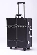 Hot sale black pinhole pattern aluminum makeup train case,beauty case with lights