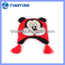 chirdren acrylic jacquard ear flap cartoon knitted hat