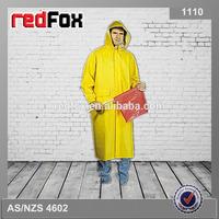 hi vis yellow long pvc rain poncho
