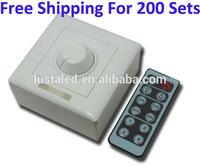 Free Shipping 200 Sets High Voltage Infrared 12 Key Panel Dimmer,110V 220V Knob PWM 0-10V Triac,Wireless Remote Light LED Dimmer